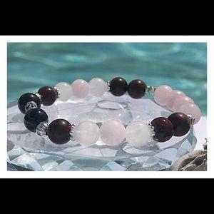 Rose Quartz, Jade & Mahogany Obsidian Bracelet